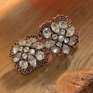Vintage 50s 60s LISNER Rhinestone Earrings Signed